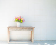 Bouquet of flowers on old wooden table. Background royalty free stock images