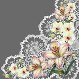 Bouquet flowers on openwork, watercolor, illustration Royalty Free Stock Image