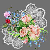 Bouquet flowers on openwork, watercolor, illustration Royalty Free Stock Photo