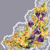 Bouquet flowers on openwork, watercolor, illustration Royalty Free Stock Photos