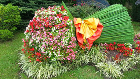 Bouquet of flowers, original flowerbed, landscape design. A large bouquet of flowers, original flower bed in the city park, landscape design, Sochi, Russia Royalty Free Stock Image