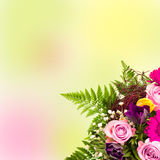 Bouquet of flowers over blurred background Royalty Free Stock Photo