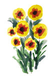 Bouquet of flowers painted in Watercolor Royalty Free Stock Photography