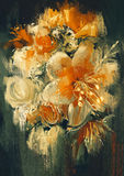 Bouquet flowers painting. Bouquet flowers in oil painting style,illustration Stock Images