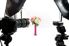 Bouquet of flowers in a photo studio. Interior of professional photo studio while shooting lifestyle decoration stock photos