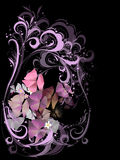 Bouquet of flowers in pink on a black background Stock Photo