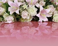 Bouquet of  flowers on pink foreground. Stock Photo