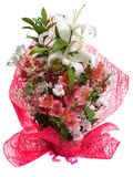 Bouquet of flowers in pink package isolated on a Stock Photography