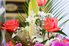 bouquet of flowers with a pink rose and white lily Royalty Free Stock Photography