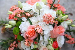 Bouquet of flowers. Bouquet of pink roses and white Stock Images