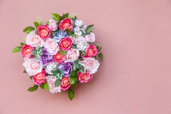 Bouquet of flowers on pink wall Royalty Free Stock Photography