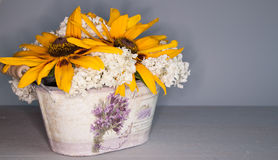 Bouquet of flowers in a pot Stock Images