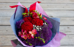 Bouquet of flowers in purple, burgundy, pink Stock Images