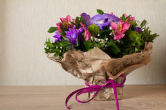 Bouquet of flowers Purple orchid, alstroemeria, green chrysanthemum, gypsophila and buxus Royalty Free Stock Photos