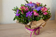 Bouquet of flowers Purple orchid, alstroemeria, green chrysanthemum, gypsophila and buxus Stock Photography