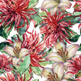 Bouquet flowers, red dahlia, lily, watercolor, pattern seamless Royalty Free Stock Photography