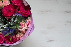 Bouquet of flowers with red roses stock image