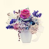 Bouquet from flowers with retro filter effect. Royalty Free Stock Image