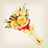 Bouquet from flowers with retro filter effect. Royalty Free Stock Images