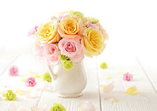 Bouquet of flowers. Bouquet of rose flowers. beautiful roses in a vase royalty free stock photos