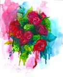 Bouquet of flowers, rose, peony, greeting card, watercolor illustration on  white background, hand drawing, Stock Photos