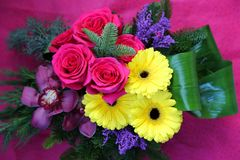 Bouquet of flowers. Roses, chrysanthemums and orchids stock photo