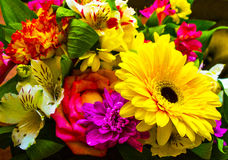 bouquet of flowers roses gerbera flowers car Stock Image