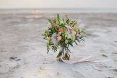 A bouquet of flowers on the salt crystals Stock Image