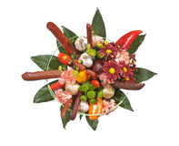 Bouquet with flowers and sausages Stock Image