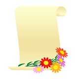 Bouquet of flowers and a scroll. Royalty Free Stock Photo