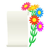 Bouquet of flowers and a scroll. Stock Photography