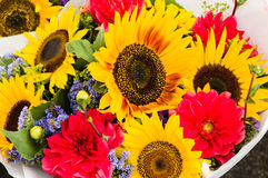 Bouquet of flowers with sunflowers Stock Photography