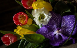 Bouquet of flowers on the table on a dark background stock photos