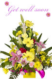 Bouquet of flowers with text Stock Images