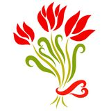 Bouquet of flowers, three tulips and heart.  Royalty Free Stock Images