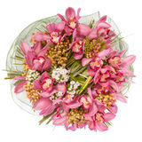 Bouquet of flowers top view isolated on white.  Royalty Free Stock Photography