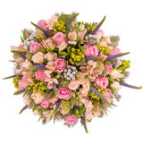 Bouquet of flowers top view isolated on white.  Royalty Free Stock Images