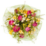 Bouquet of flowers top view isolated on white Stock Images