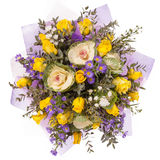 Bouquet of flowers top view isolated on white Royalty Free Stock Images