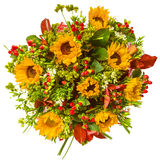 Bouquet of flowers top view isolated on white.  Stock Image