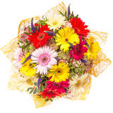 Bouquet of flowers top view isolated on white.  Royalty Free Stock Photo