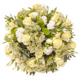 Bouquet of flowers top view isolated on white Stock Image