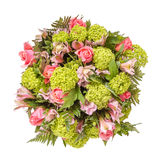 Bouquet of flowers top view isolated on white Royalty Free Stock Image