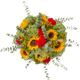 Bouquet of flowers top view isolated on white.  Royalty Free Stock Image