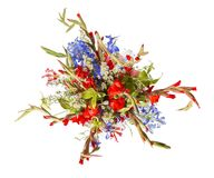 Bouquet of flowers top view on white background Royalty Free Stock Photo
