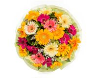 Bouquet of flowers top view on white background Royalty Free Stock Photography