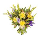 Bouquet of flowers top view on white background Royalty Free Stock Image