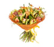 Bouquet of flowers top view on white background Stock Photo