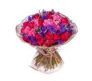 Bouquet of flowers top view on white background Royalty Free Stock Photos