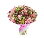 Bouquet of flowers top view on white background Stock Photos